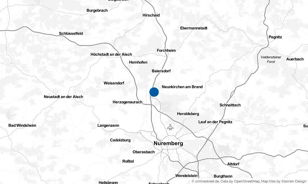 Karte: Wo liegt Erlangen?