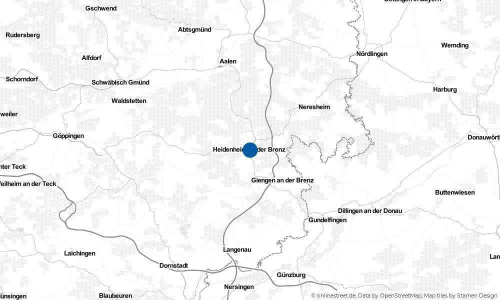 Karte: Wo liegt Heidenheim an der Brenz?
