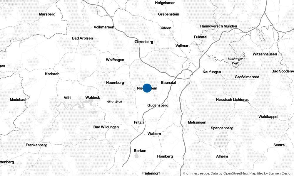Karte: Wo liegt Niedenstein?
