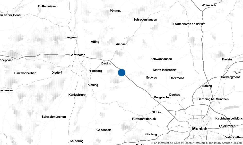 Karte: Wo liegt Adelzhausen?