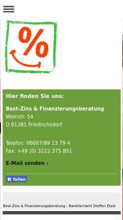 Vorschau der mobilen Webseite www.best-zins.info, Best-Zins und Finanzierungsberatung Steffen Etzel