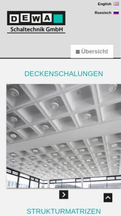 Vorschau der mobilen Webseite www.dewa-schaltechnik.de, DeWa-Schaltechnik GmbH