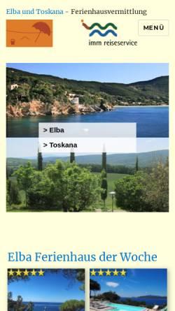 Vorschau der mobilen Webseite www.elba-toscana.de, IMM Reiseservice