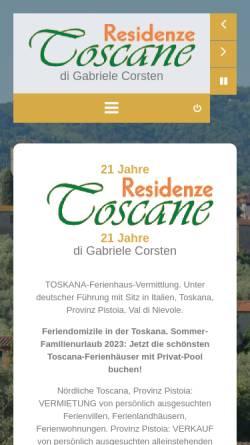 Vorschau der mobilen Webseite www.residenzetoscane.com, Residenze Toscane e.K.