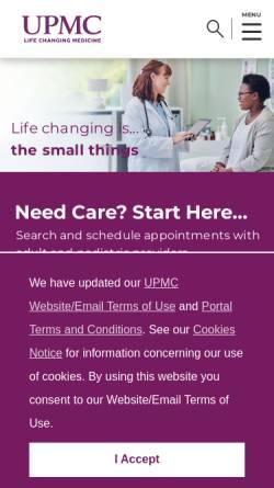 Vorschau der mobilen Webseite www.upmc.com, Dr. Schober Axel