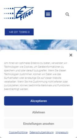 Vorschau der mobilen Webseite www.euro-filter.eu, Euro-Filter GmbH