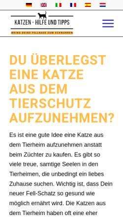 Vorschau der mobilen Webseite www.katzennothilfe.de, Felidae - Tierschutzverein und Katzennothilfe e.V.