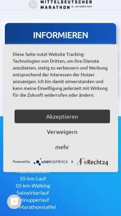 Vorschau der mobilen Webseite www.mitteldeutscher-marathon.de, Mitteldeutscher Marathon