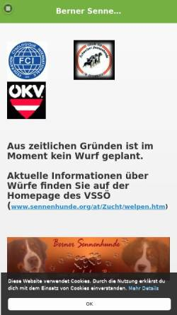 Vorschau der mobilen Webseite bernersennenhund.de.tl, Von der Hohen Birga