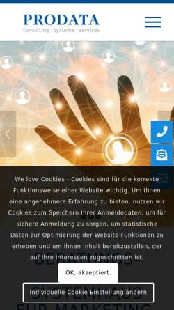 Vorschau der mobilen Webseite www.prodata.de, Prodata Datenbanken und Informationssysteme GmbH