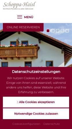 Vorschau der mobilen Webseite www.urlaub-in-sonnen.de, Ferienhof Schoppa-Haisl