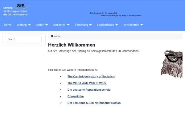 Vorschau von www.stiftung-sozialgeschichte.de, Stiftung für Sozialgeschichte des 20. Jahrhunderts