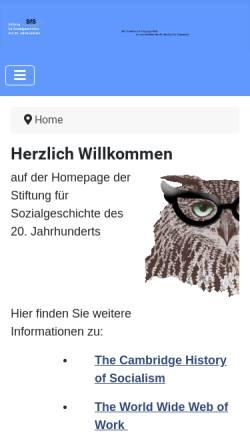 Vorschau der mobilen Webseite www.stiftung-sozialgeschichte.de, Stiftung für Sozialgeschichte des 20. Jahrhunderts