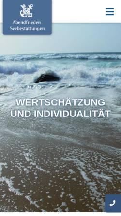 Vorschau der mobilen Webseite abendfrieden.de, Abendfrieden Seebestattungen GmbH
