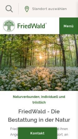 Vorschau der mobilen Webseite www.friedwald.de, Friedwald Deutschland e.V.