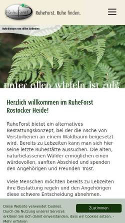 Vorschau der mobilen Webseite www.rostocker-ruheforst.de, RuheForst Rostocker Heide