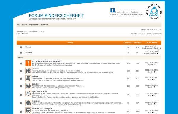 Vorschau von www.elternforum-kindersicherheit.de, Elternforum der BAG Mehr Sicherheit für Kinder e. V