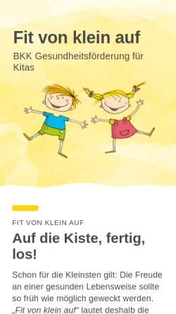 Vorschau der mobilen Webseite www.fitvonkleinauf.de, Fit von klein auf - BKK Gesundheitsförderung in Kindertageseinrichtungen