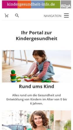 Vorschau der mobilen Webseite www.kindergesundheit-info.de, Kindergesundheit-Info