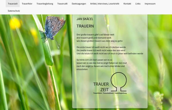 Vorschau von www.trauerzeit.de, Praxis für Trauerarbeit, Dipl.-Theol. Wolfgang Reiffer
