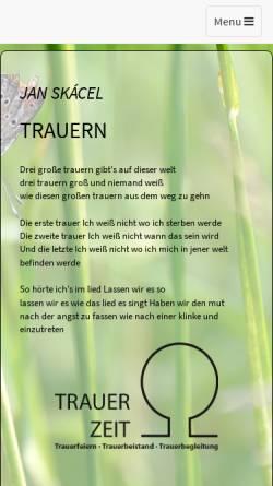 Vorschau der mobilen Webseite www.trauerzeit.de, Praxis für Trauerarbeit, Dipl.-Theol. Wolfgang Reiffer