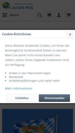 Vorschau der mobilen Webseite www.flaggen-pehl.de, Flaggen Pehl
