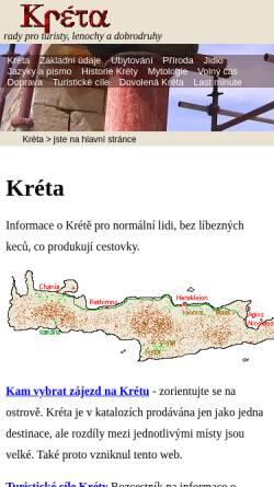 Vorschau der mobilen Webseite kreta.rovnou.cz, Kreta - Tipps für Touristen, Faulenzer und Abenteurer