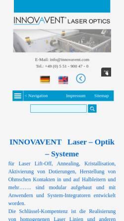 Vorschau der mobilen Webseite www.innovavent.com, Innovavent GmbH