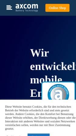 Vorschau der mobilen Webseite www.axcom-battery-technology.de, Axcom GmbH