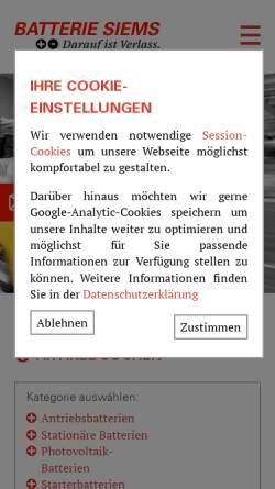 Vorschau der mobilen Webseite www.batterie-siems.de, Batterie Siems GmbH & Co. KG