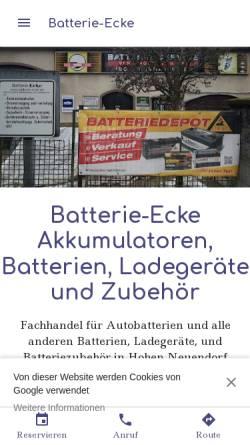 Vorschau der mobilen Webseite www.batterie-ecke.de, Batterieservice Ing. Ch. Ecke