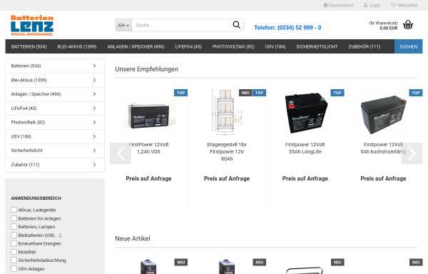 Vorschau von www.batterien-lenz.de, Batterie-Spezialgroßhandlung G. Lenz, Inh. M. Manthe e.K.
