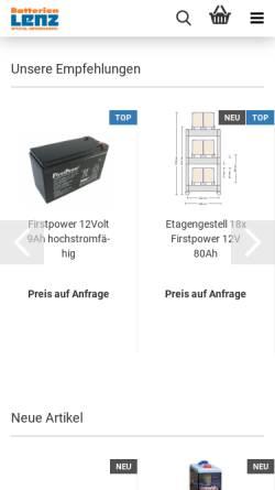 Vorschau der mobilen Webseite www.batterien-lenz.de, Batterie-Spezialgroßhandlung G. Lenz, Inh. M. Manthe e.K.