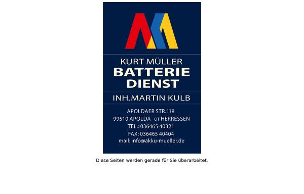 Vorschau von www.akku-mueller.de, Kurt Müller Batteriedienst; Inh. Peter Müller