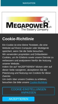 Vorschau der mobilen Webseite www.megapower.ch, Megapower GmbH