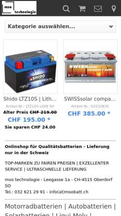 Vorschau der mobilen Webseite www.msobatt.ch, Mso Batterietechnik, Inh. Markus Studer