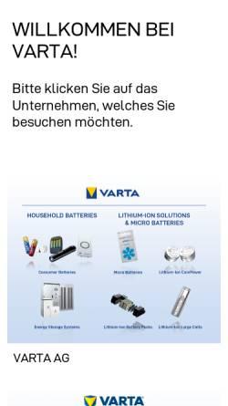 Vorschau der mobilen Webseite www.varta.de, Varta AG