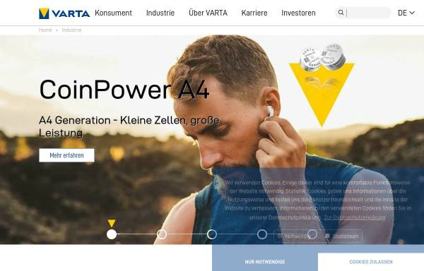 Vorschau von www.powerone-batteries.com, VARTA Microbattery GmbH