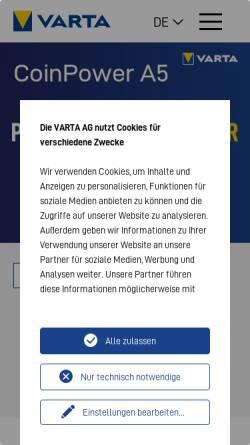 Vorschau der mobilen Webseite www.powerone-batteries.com, VARTA Microbattery GmbH