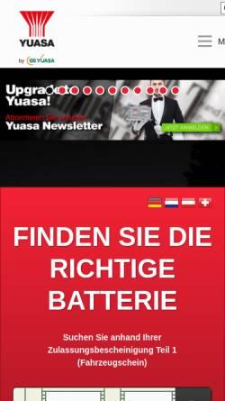 Vorschau der mobilen Webseite www.yuasaeurope.com, Yuasa Battery (Europe) GmbH