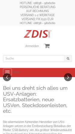 Vorschau der mobilen Webseite www.zdis.de, ZDIS GmbH