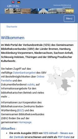 Vorschau der mobilen Webseite www.gbv.de, GBV, Gemeinsamer Bibliotheksverbund