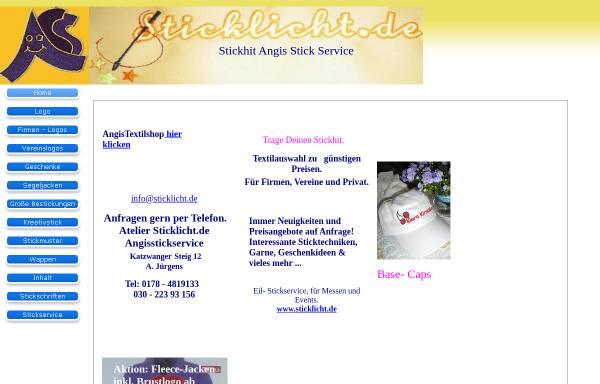 Vorschau von www.angisstickservice.de, Stick Service Jürgens