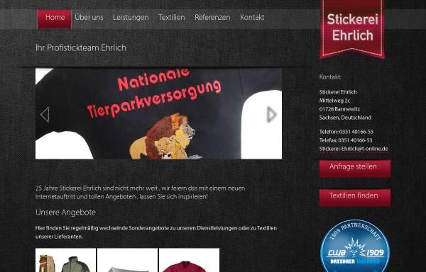 Vorschau von www.stickerei-ehrlich.de, Stickerei Ehrlich
