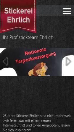 Vorschau der mobilen Webseite www.stickerei-ehrlich.de, Stickerei Ehrlich