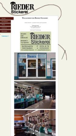 Vorschau der mobilen Webseite www.stickereirieder.de, Stickerei Rieder