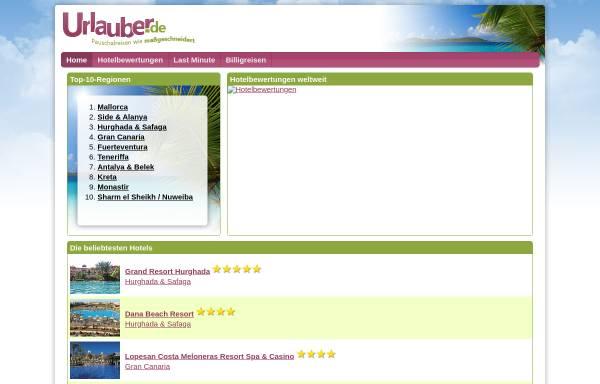 Vorschau von www.urlauber.de, Urlauber.de