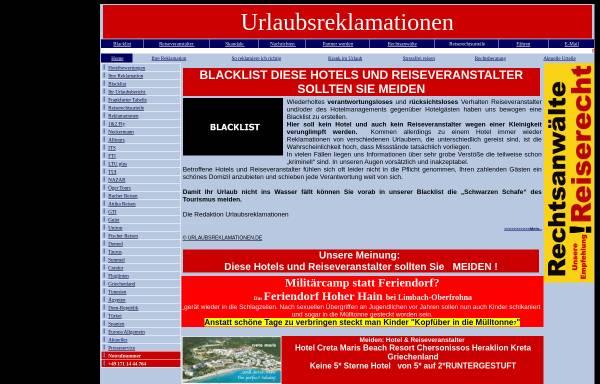 Vorschau von www.urlaubsreklamationen.de, Urlaubsreklamationen - Bereich Blacklist