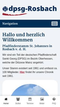 Vorschau der mobilen Webseite www.dpsg-rosbach.de, DPSG Rosbach v.d.H. Stamm St. Johannes