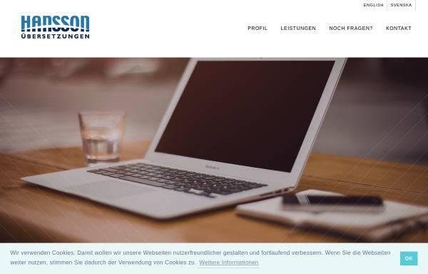 Vorschau von www.hansson.de, Hansson Übersetzungen GmbH